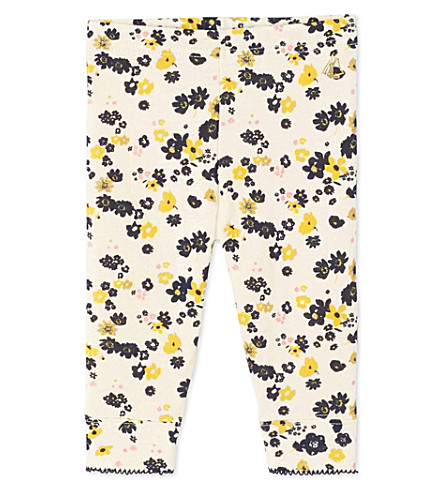 PETIT BATEAU Baby girl's floral and sequin double-knit cotton leggings (Coquille+white
