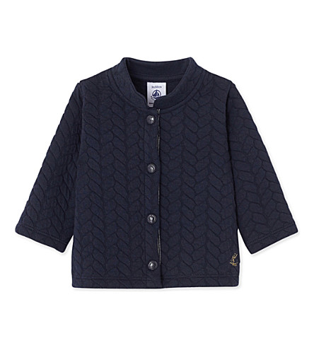 PETIT BATEAU Baby girl's quilted double-knit cotton cardigan 3-36 months (Smoking+blue