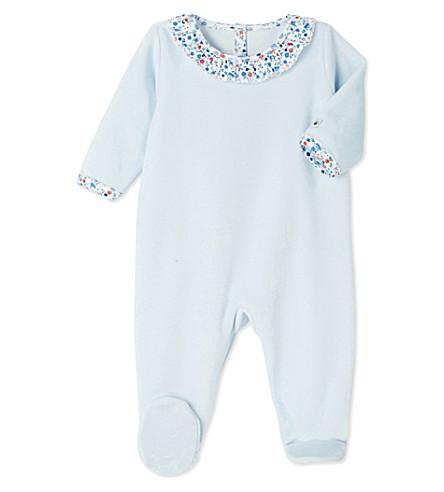 PETIT BATEAU Frilled-collar velour sleepsuit 3-24 months (Fraicheur+blue
