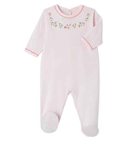 PETIT BATEAU Frilled-collar velour sleepsuit 3-24 months (Vienne+pink