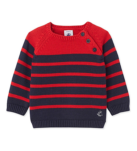 PETIT BATEAU Baby boy's knitted stripe jumper (Smoking+blue+and+red