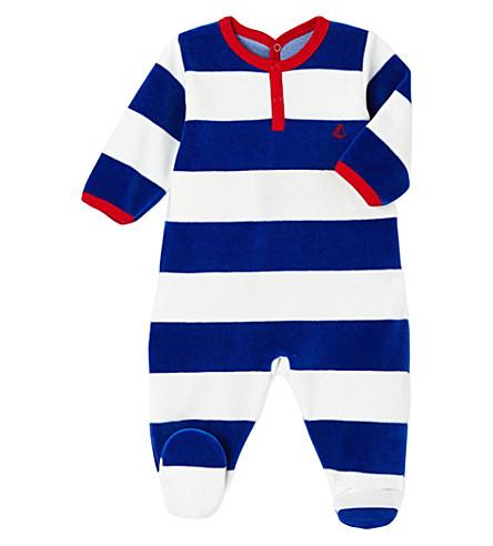 PETIT BATEAU Striped velour sleepsuit 3-36 months (Surf+blue+lait+white