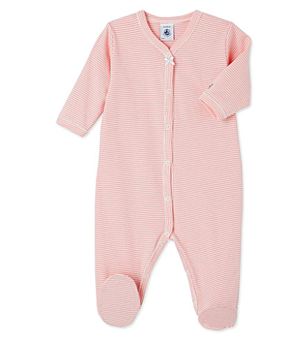 PETIT BATEAU Striped cotton sleepsuit 1-36 months (Gretel+pink