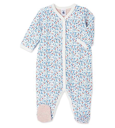 PETIT BATEAU Floral-print cotton sleepsuit 1-24 months (Lait+white
