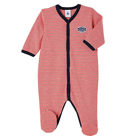 PETIT BATEAU Striped cotton sleepsuit 1-36 months (Froufrou+red