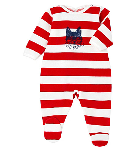 PETIT BATEAU Striped velour sleepsuit 3-24 months (Froufrou+red