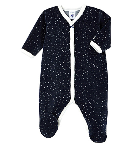 PETIT BATEAU Star-print velour sleepsuit 1-36 months (Smoking+blue