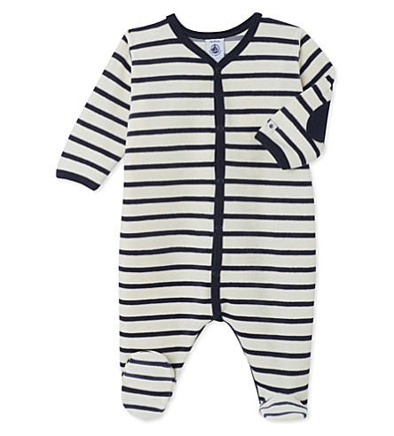 PETIT BATEAU Baby's striped cotton sleepsuit (Coquille+beige