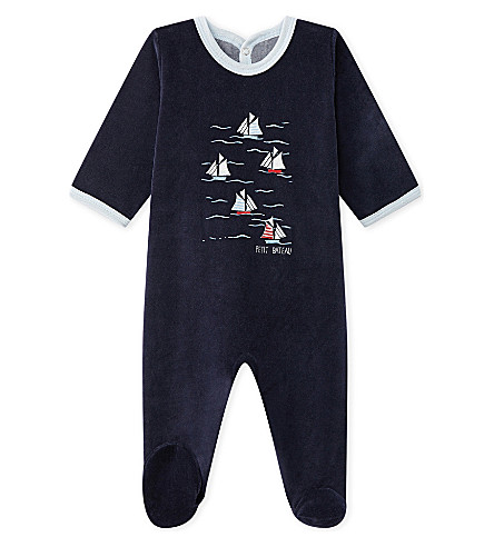 PETIT BATEAU Boat-embroidered velour sleepsuit 1-24 months (Smoking+blue
