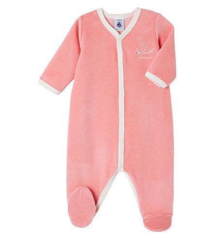 PETIT BATEAU Bird-embroidered velour sleepsuit 1-24 months (Gretel+pink