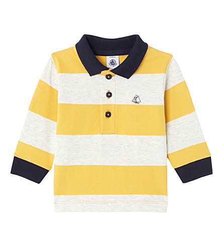 PETIT BATEAU Boy's striped cotton rugby polo shirt (Ocre+yellow