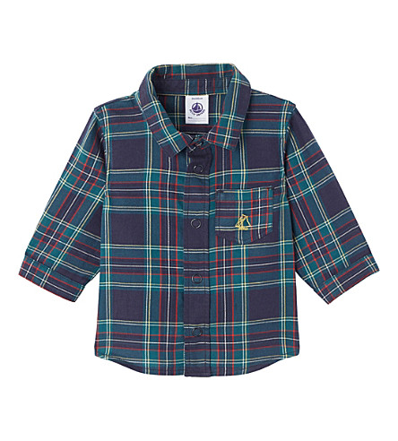 PETIT BATEAU Baby boy's checked cotton shirt (Smoking+blue+multico