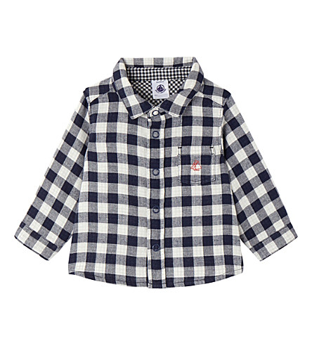 PETIT BATEAU Baby boy's gingham cotton shirt (Smoking+blue