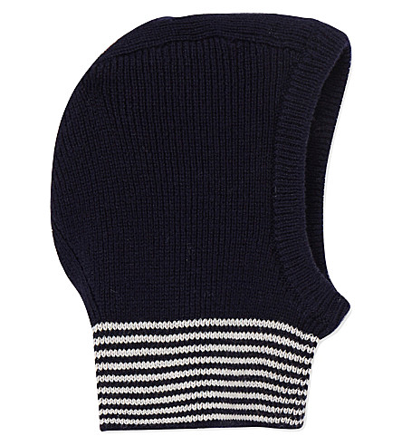 PETIT BATEAU Wool and cotton-blend balaclava hood 3-36 months (Smoking+blue