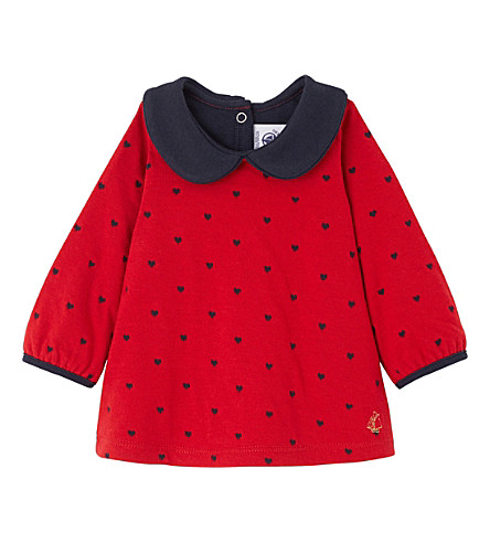 PETIT BATEAU Heart jacquard cotton top 3-36 months (Froufrou+red