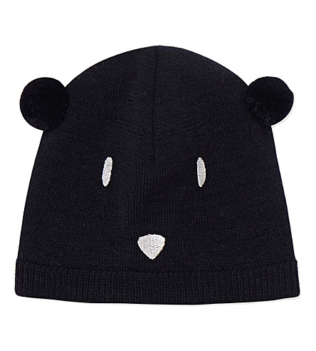 PETIT BATEAU Unisex knitted bear cap 6-36 months (Smoking+blue