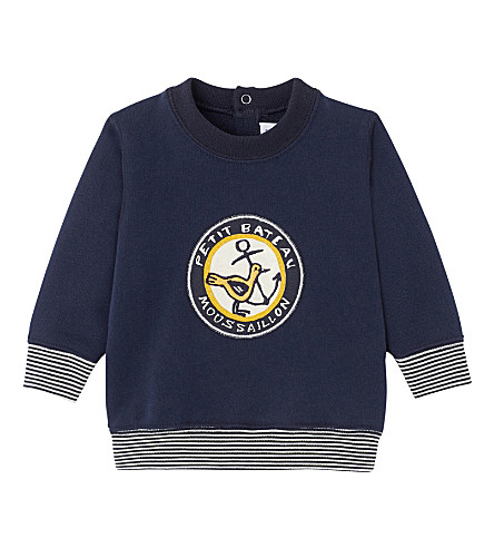 PETIT BATEAU Baby boy's embroidered appliqué sweatshirt 3-36 months (Smoking+blue