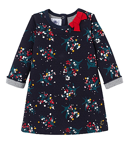 PETIT BATEAU Floral-print knitted dress 3-36 months (Smoking+blue+white