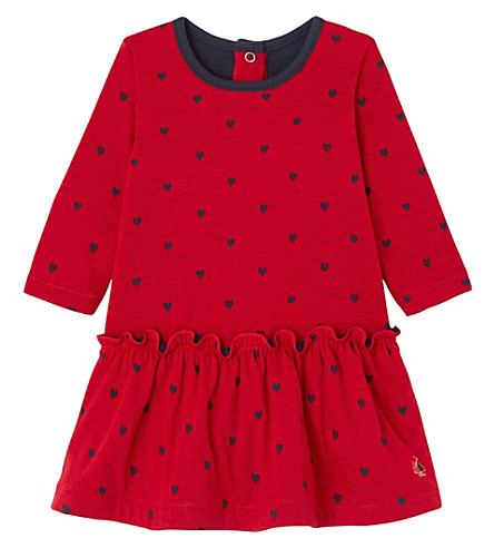 PETIT BATEAU Heart jacquard cotton dress 3-36 months (Froufrou+red