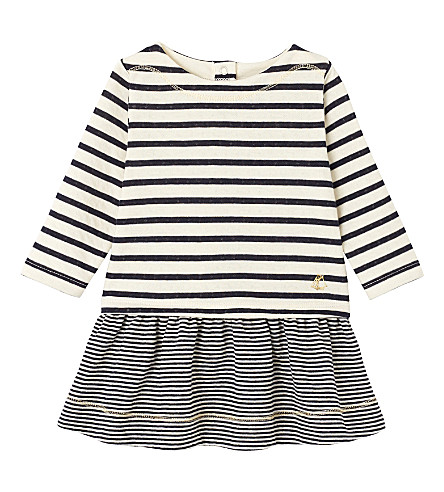 PETIT BATEAU Striped knitted dress 3-36 months (Coquille+smoke+blue