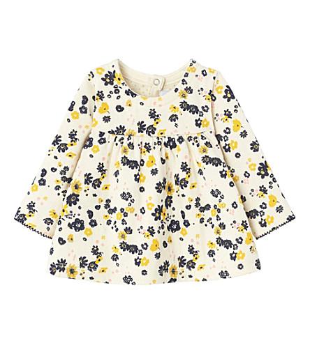 PETIT BATEAU Sequin floral-print cotton dress 3-36 months (Coquille+beige