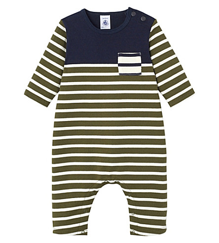 PETIT BATEAU Baby boy's heavyweight jersey jumpsuit (Crocodile+green