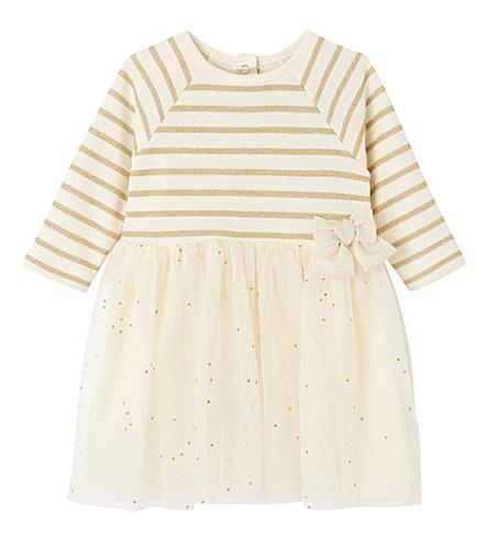 PETIT BATEAU Baby girl's dual fabric dress (Lurex+dore+yellow