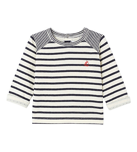 PETIT BATEAU Baby boy's striped top (Coquille++smoke+blue