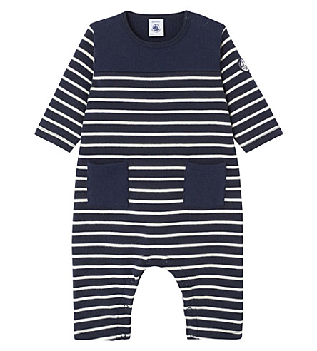 PETIT BATEAU Baby's striped cotton babygrow 3-24 months (Coquille++smoke+blue