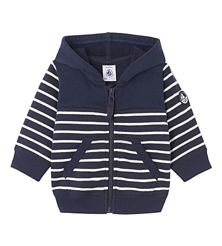 PETIT BATEAU Baby boy's hooded striped sweatshirt 3-36 months (Smoking+blue