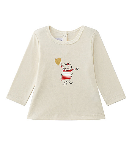 PETIT BATEAU Cat motif cotton top 3-36 months (Froufrou+red