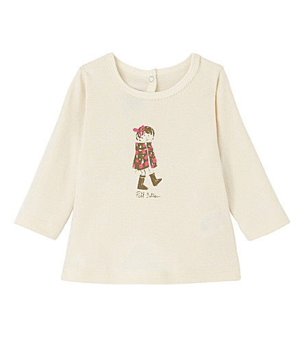 PETIT BATEAU Long sleeve printed top 3-36 months (Coquille+beige