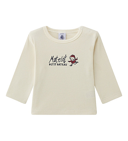 PETIT BATEAU Baby boy's printed cotton top 3-36 months (Coquille+beige