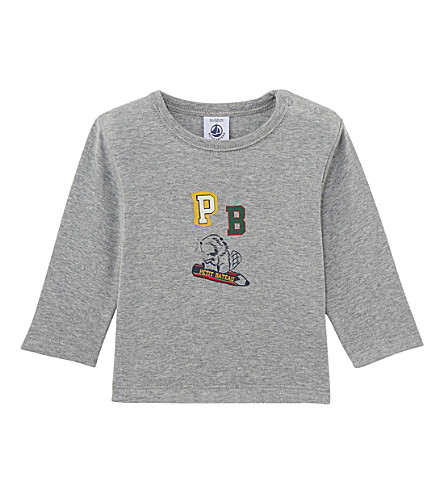 PETIT BATEAU Baby long-sleeved cotton T-shirt 3-36 months (Subway+chine+grey