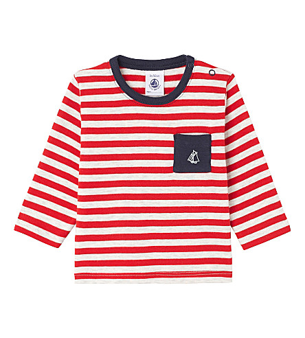 PETIT BATEAU Striped long-sleeved cotton top 3-36 months (Froufrou+red