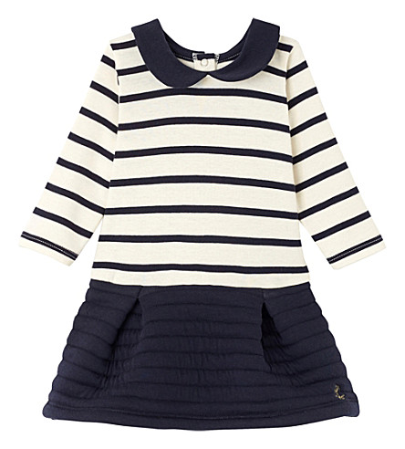 PETIT BATEAU Striped peter-pan collar cotton dress 3-36 months (Coquille+smoke+blue