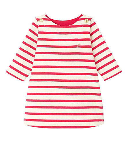 PETIT BATEAU Striped sailor jersey dress 3-36 months (Flashy+pink