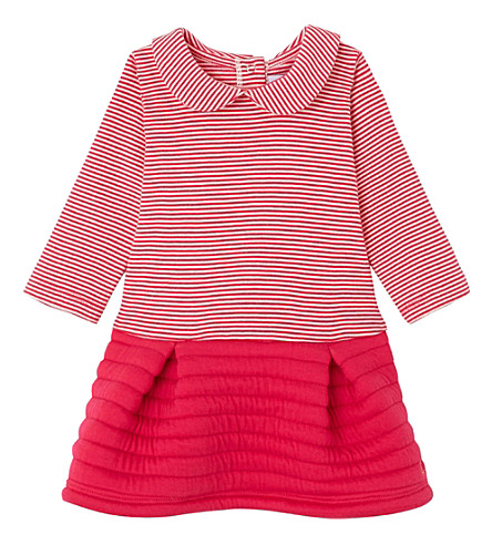 PETIT BATEAU Striped peter-pan collar cotton dress 3-36 months (Flashy+pink