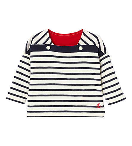 PETIT BATEAU Striped cotton top 3-36 months (Coquille+beige