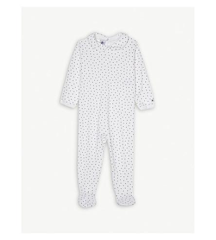 PETIT BATEAU Heart print cotton sleepsuit 1-24 months (White+/+blue