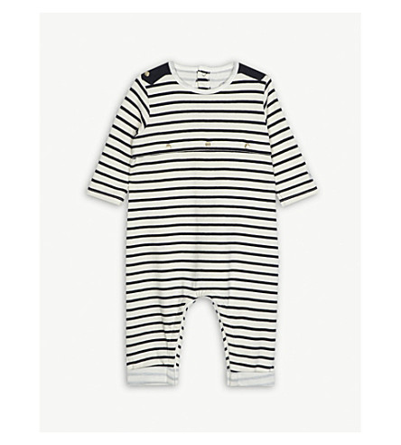 PETIT BATEAU Striped cotton all-in-one 1-12 months (Beige+/+blue