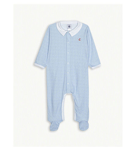 PETIT BATEAU Grid check cotton sleepsuit 3-24 months (White+/+blue