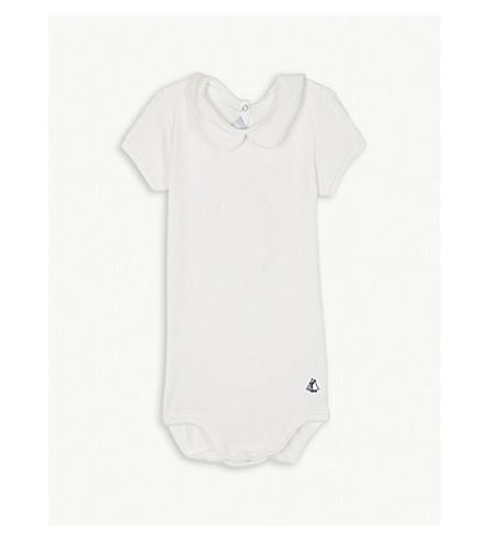 PETIT BATEAU Peter Pan collar cotton bodysuit 6-36 months (Marshmallow+white