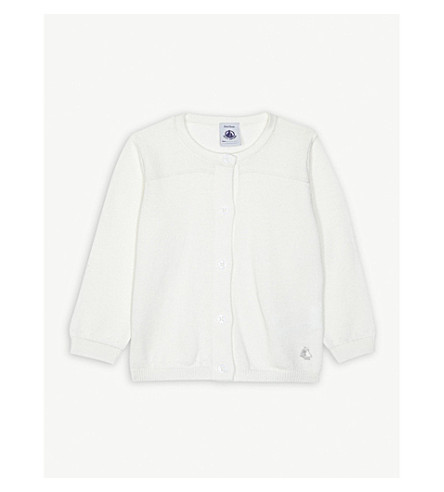 PETIT BATEAU Knitted cotton cardigan 3-36 months (Marshmallow+white