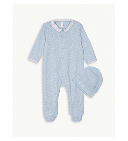 PETIT BATEAU Boat print cotton sleepsuit and hat 1-12 months (Blue+/+ecume+white