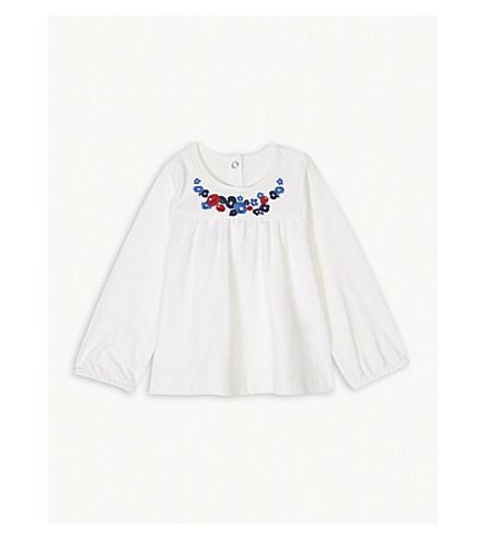 PETIT BATEAU Floral cotton T-shirt 3-36 months (Marshmallow+white