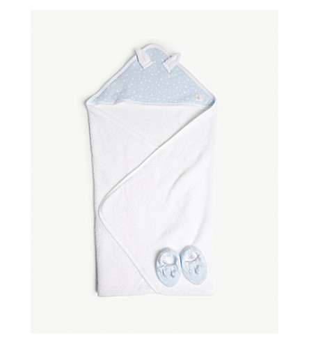 PETIT BATEAU Unisex bath cape in a gift box (Blue+/+ecume+white