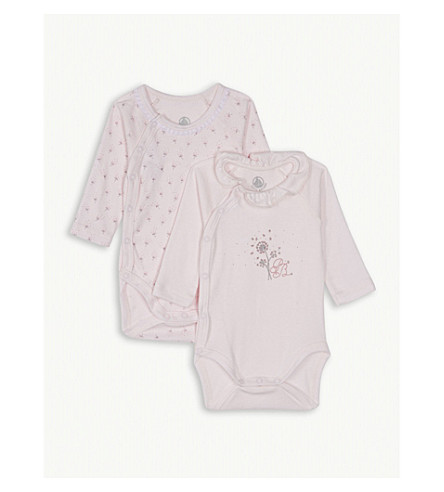 PETIT BATEAU Cotton bodysuits set of two 0-12 months (Vienne+pink