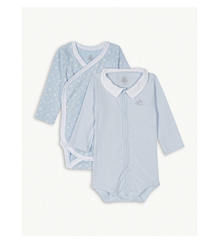 PETIT BATEAU Boat print cotton bodysuits set of two 0-12 months (Toudou+blue
