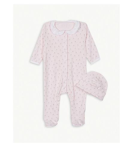 PETIT BATEAU Dandelion print cotton sleepsuit and hat 0-12 months (Pink+/+multico+white